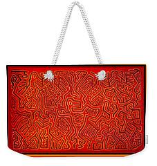 Weekender Tote Bag featuring the digital art San Blas Island Kuna Indian Birds by Vagabond Folk Art - Virginia Vivier