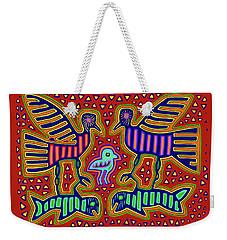 Weekender Tote Bag featuring the digital art San Blas Kuna Bird Family With Fish by Vagabond Folk Art - Virginia Vivier