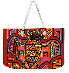 Weekender Tote Bag featuring the digital art San Blas Kuna Indian Bat by Vagabond Folk Art - Virginia Vivier