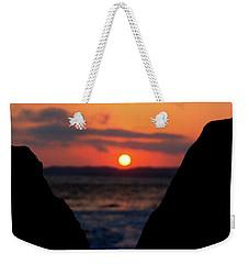 San Clemente Beach Rock View Sunset Portrait Weekender Tote Bag by Matt Harang