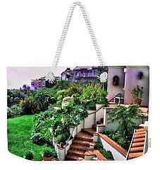 Weekender Tote Bag featuring the digital art San Clemente Estate Backyard by Kathy Tarochione