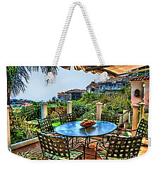 Weekender Tote Bag featuring the digital art San Clemente Estate Patio by Kathy Tarochione