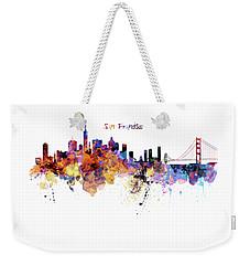 San Francisco Watercolor Skyline Weekender Tote Bag by Marian Voicu