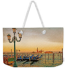 Weekender Tote Bag featuring the digital art San Giorgio Maggiore Venice Gondolas by Anthony Murphy