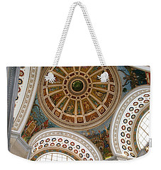 Weekender Tote Bag featuring the photograph San Juan Capital Building Ceiling by Lois Lepisto