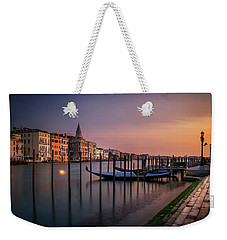 San Marco Campanile With Gondolas At Grand Canal During Calm Sunrise, Venice, Italy, Europe. Weekender Tote Bag