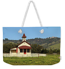 Weekender Tote Bag featuring the photograph San Simeon - Castle And Schoolhouse by Art Block Collections