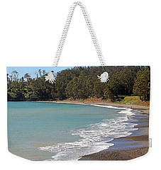 Weekender Tote Bag featuring the photograph San Simeon Cove by Art Block Collections