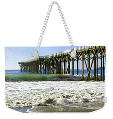 Weekender Tote Bag featuring the photograph San Simeon Pier by Art Block Collections