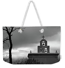 San Xavier Bell Tower 5 Bw Weekender Tote Bag by Mary Bedy