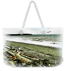Weekender Tote Bag featuring the photograph Sand And Surf by Sadie Reneau