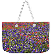 Weekender Tote Bag featuring the photograph Sand Bluebonnet And Paintbrush by Tim Fitzharris