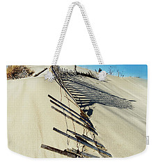 Weekender Tote Bag featuring the photograph Sand Dune Fences And Shadows by Gary Slawsky