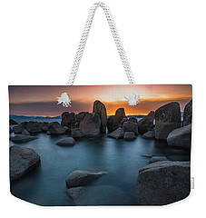 Sand Harbor Sunset Weekender Tote Bag by Alpha Wanderlust