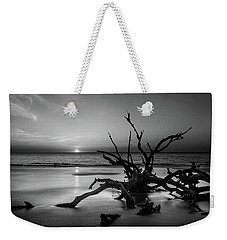 Sand Surf And Driftwood In Black And White Weekender Tote Bag