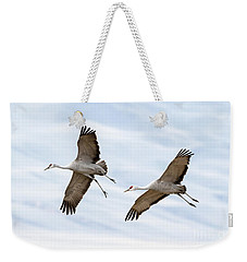 Sandhill Crane Approach Weekender Tote Bag by Mike Dawson
