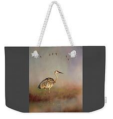 Sandhill Crane - Painterly Vertical Weekender Tote Bag