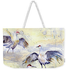 Wetlands Courtship - Sandhill Cranes Weekender Tote Bag