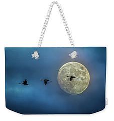Sandhill Cranes With Full Moon Weekender Tote Bag