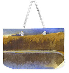 Weekender Tote Bag featuring the painting Sandy Blue Dusky Mountain Lake by Kip DeVore