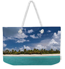 Weekender Tote Bag featuring the photograph Sandy Cay Beach British Virgin Islands Panoramic by Adam Romanowicz