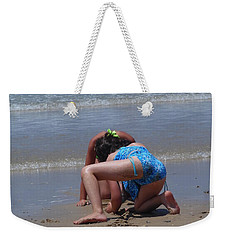 Weekender Tote Bag featuring the photograph Sandy Construction Workers by Esther Newman-Cohen