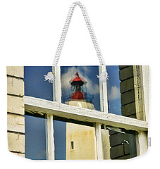 Sandy Hook Lighthouse Reflection Weekender Tote Bag by Gary Slawsky