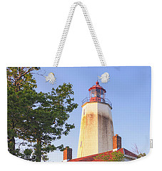 Sandy Hook Lighthouse Square Weekender Tote Bag by Marianne Campolongo