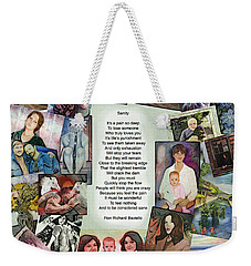 Weekender Tote Bag featuring the painting Sanity by Ron Richard Baviello