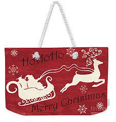 Santa And Reindeer Sleigh Weekender Tote Bag