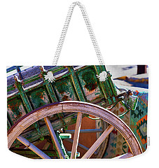 Weekender Tote Bag featuring the photograph Santa Fe Spokes by Stephen Anderson