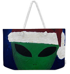 Weekender Tote Bag featuring the painting Santa Hat by Lola Connelly
