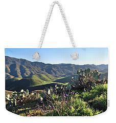 Weekender Tote Bag featuring the photograph Santa Monica Mountains - Cactus Hillside View by Matt Harang