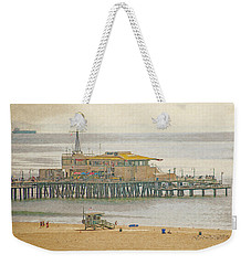 Weekender Tote Bag featuring the digital art Santa Monica Pier by Anthony Murphy