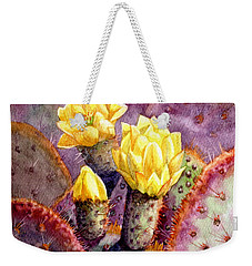Weekender Tote Bag featuring the painting Santa Rita Prickly Pear Cactus by Marilyn Smith