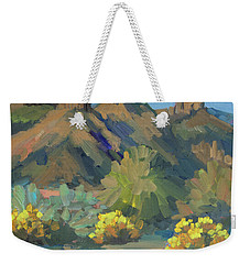 Weekender Tote Bag featuring the painting Santa Rosa Mountains And Brittle Bush by Diane McClary