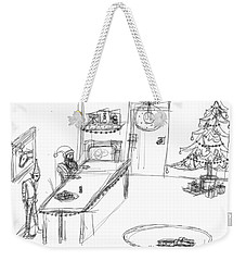 Weekender Tote Bag featuring the drawing Santas Chrismassy Office by Artists With Autism Inc