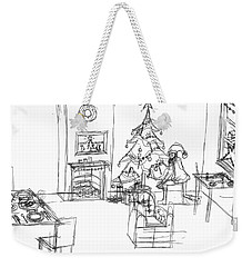Weekender Tote Bag featuring the drawing Santas Delivery by Artists With Autism Inc