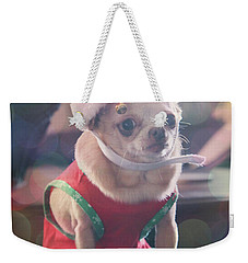 Weekender Tote Bag featuring the photograph Santa's Little Helper by Laurie Search