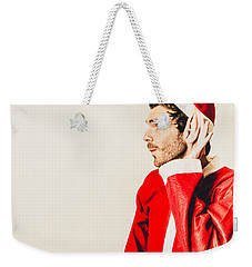 Weekender Tote Bag featuring the photograph Santas Little Helper Listening To Christmas Orders by Jorgo Photography - Wall Art Gallery