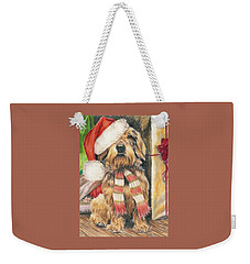 Weekender Tote Bag featuring the drawing Santas Little Yelper by Barbara Keith
