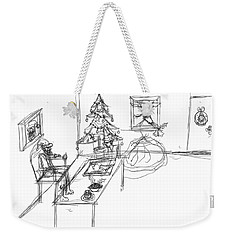 Weekender Tote Bag featuring the drawing Santas Office by Artists With Autism Inc