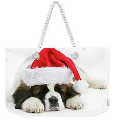 Santa's Snoozing Saint Bernard Weekender Tote Bag