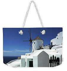 Weekender Tote Bag featuring the photograph Santorini Greece Architectual Line 5 by Bob Christopher