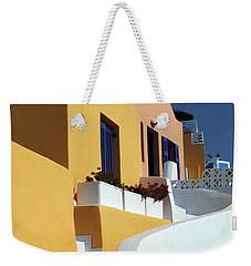 Weekender Tote Bag featuring the photograph Santorini Greece Architectual Line by Bob Christopher