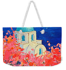 Santorini Impression - Full Bloom In Santorini Greece Weekender Tote Bag by Ana Maria Edulescu