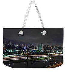 Sao Paulo Skyline - Ponte Estaiada Octavio Frias De Oliveira Wit Weekender Tote Bag