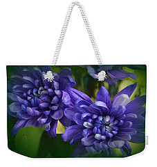 Sapphire Blue Chrysanthemums Weekender Tote Bag