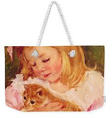Sara Holding A Cat Weekender Tote Bag