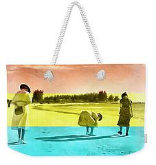 Weekender Tote Bag featuring the painting Sarasota Series Beachcombers by Edward Fielding